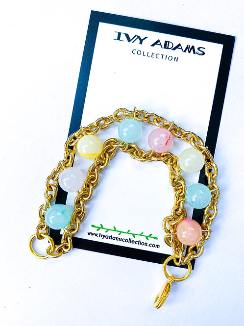 Cotton Candy Stone Bracelet with Vintage chain