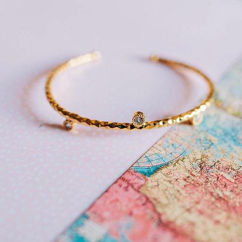 Hand-textured CZ Sparkle Bracelet (Fair-Trade Item)