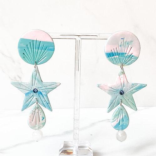 Mermaid Stars Blue with Quartz