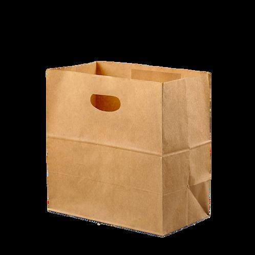 Bolsa Kraft con Asa Perforada 27x15x27cm