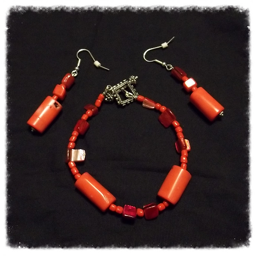 "8"" Coral & MOP Nugget Chieftain Bracelet & Earring"