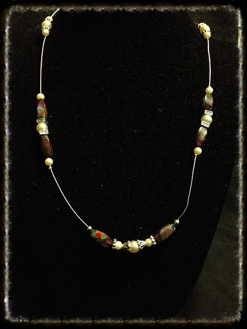 "18"" Amethyst Lampwork Bd & Pearl Floating Necklace"
