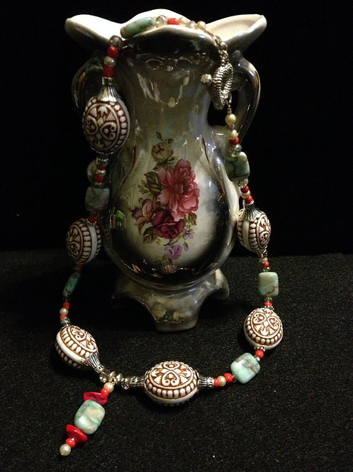 """18"""" Turq, Coral & Aztec Cer Bd Neck & Earring set"""