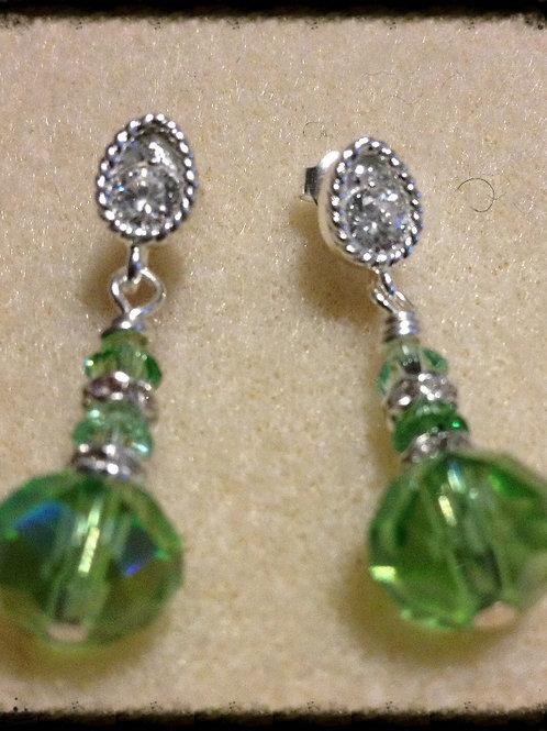Peridot Swarovski Drop Crystal Earrings