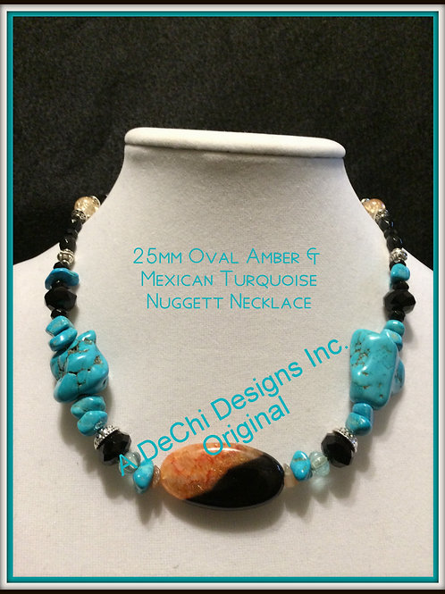 Amber & Mexican Turquoise Custom Necklace 18""