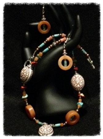 """18"""" Jasper, Turq., Coral & Aztec Cer Bd Neck & Ear"""