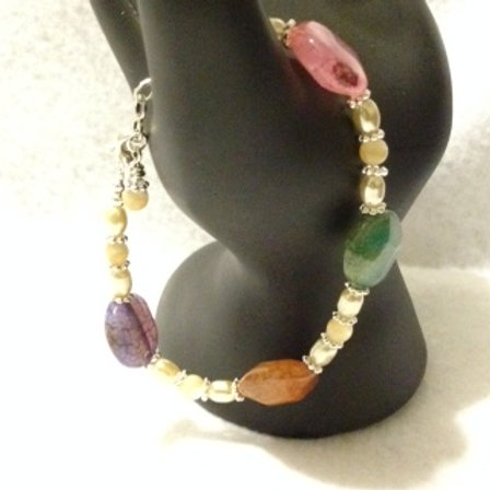 7in Rainbow Agate & MOPrl Silver Lobster Clasp