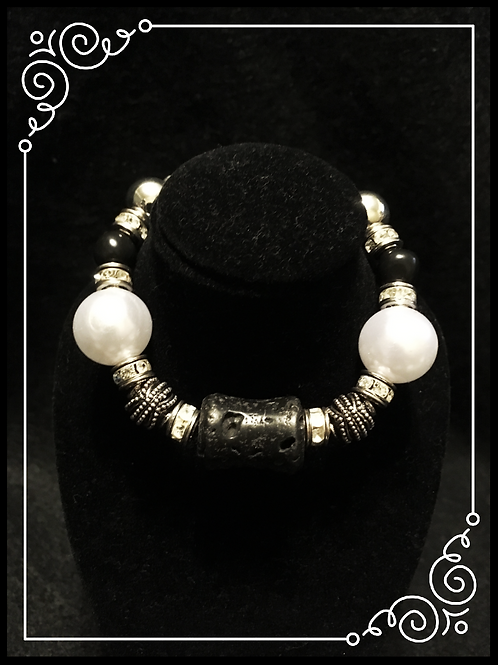 Lava & Pearl Bead Bracelet and Earring set