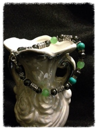 """8"""" Turquoise, Peridot & Hemetite Men's Bracelet"""