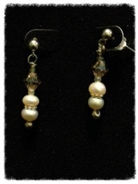 Pearl & Lt. Smoke Crystal Bead Earrings