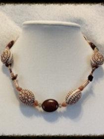 "18"" Aztec Ceramic Bd & Red Jasper stone Necklac"