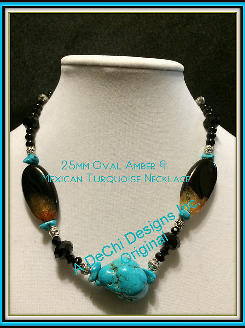 Mexican Turquoise & Amber Custom Necklace 18""