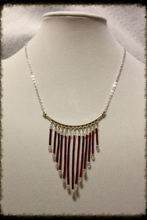 "Red Buggle Gls Chandelier Necklace 18"" w 1"" /Ext"