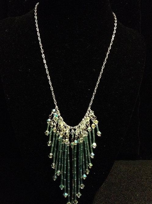 """16"""" Blue Gls Chandelier Chain Necklace"""