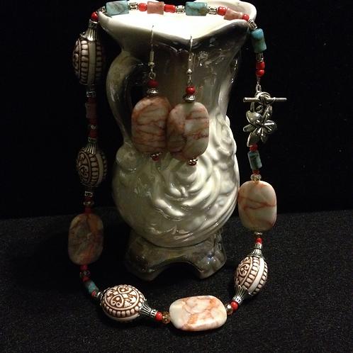 "16"" Jasper, Turq & Coral Aztec Cer Neck & Earring"
