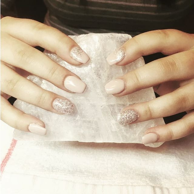Nude with a little sparkle gel nails by
