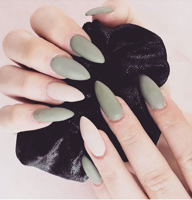A classy set of Olive green & nude gels.