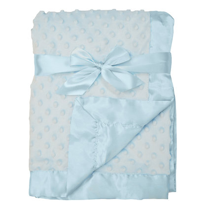 Chenille Minky Dot/ Satin Receiving Blanket