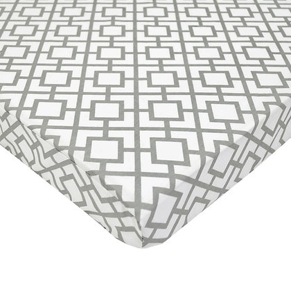 Cotton Percale Geometric Fitted Sheets