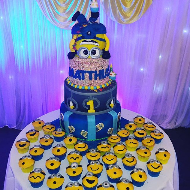 Minion Large Tiered cake #sugarcakes #su