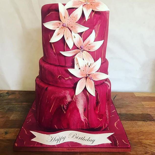 Marble Flower Cake #sugarcakesco #sugarc