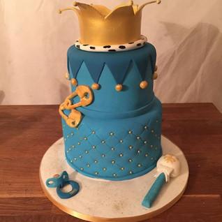 2 Tier Baby Boy Crown Cake #sugarcakes #