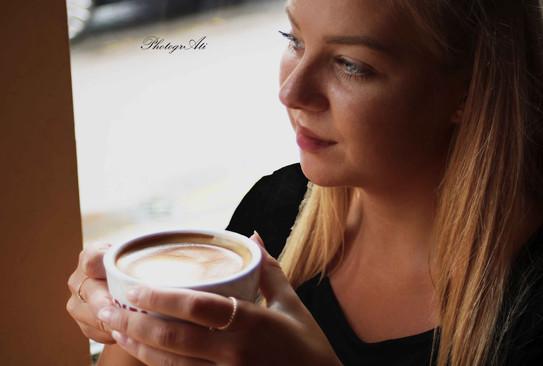 Natalia in the coffee shop