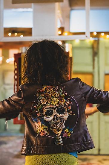 Frida Kahlo - Original Hand-Painted Up-cycled Leather Jacket