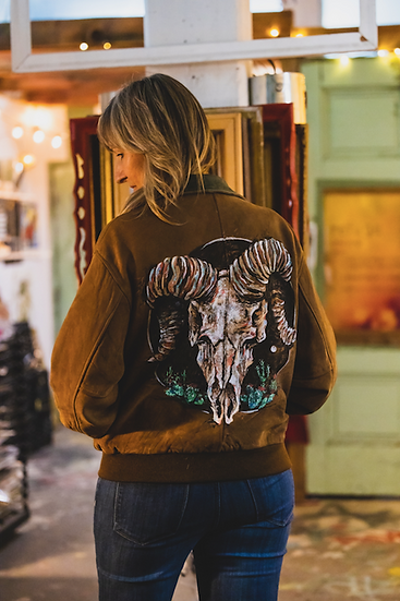 Desert Skull - Hand-painted Upcycled Suede Jacket