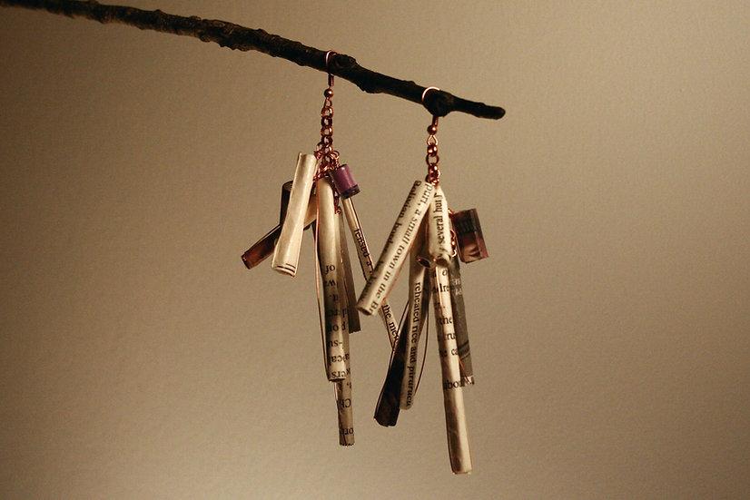Long rolled paper earrings