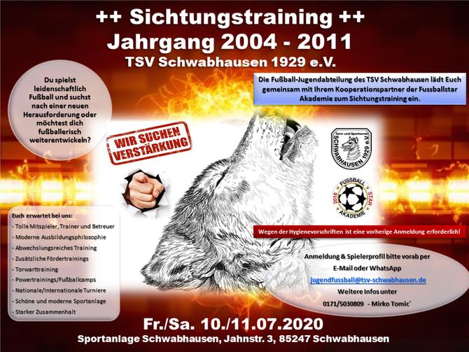 SICHTUNGSTRAINING Fußball-Jugend