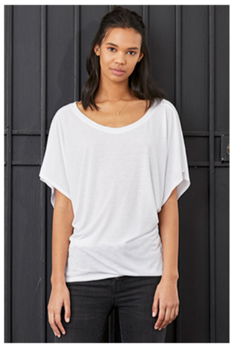 Women's Flowy Draped Sleeve $12 Optional Roster and Number