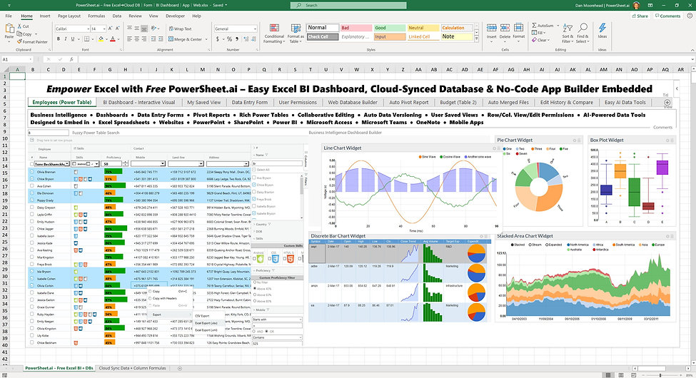 Automatically create no-code apps, cloud databases, BI dashboards, forms, interactive reports and collaboration tools from your spreadsheets and data – and embed in Excel, PowerPoint, mobile apps, online and anywhere with the free AI-powered all-in-one Power Sheet platform