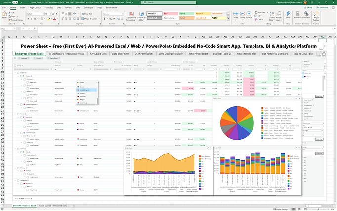 The free no-code smart spreadsheet apps, analytics and realtime web 3.0 collaboration platform