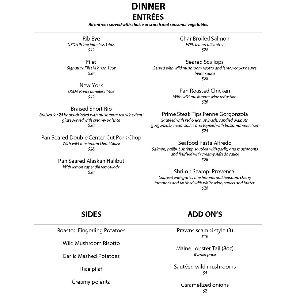 Diamond Steak & Seafood Dinner Menu form