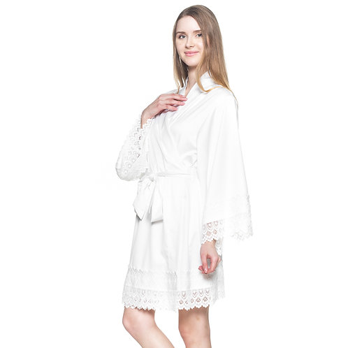 Bridal Robe for getting ready, White Robe Lace, Wedding Robes, Bridal Party Gifts, Bridal Shower, Bridesmaid Robes