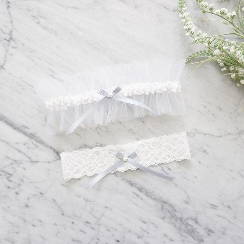 dusty blue tulle wedding garter set
