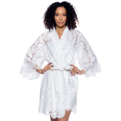 Bridal Lace Robe For Getting Ready White Wedding Robes Party