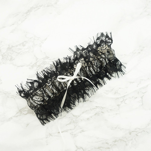 Black Wedding Garter Lace Bridal Set Keepsake Toss