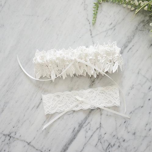 off white bridal lace garter set