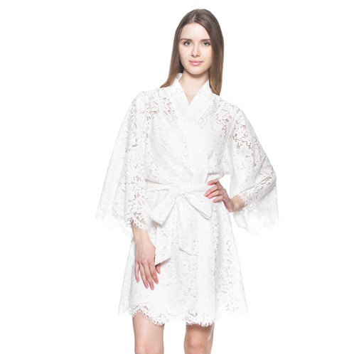 Bridal Lace Robe For Getting Ready Off White With Slip Lining Wedding