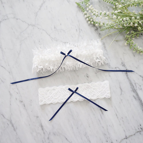 something blue lace wedding garter set