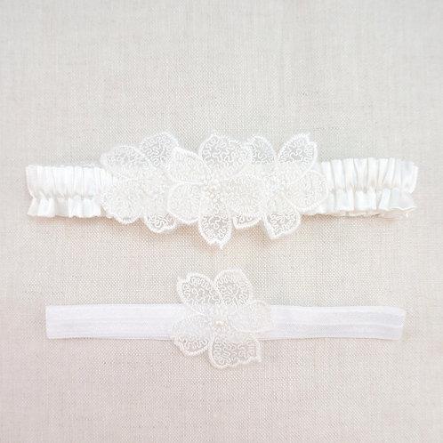 white silk wedding garter set