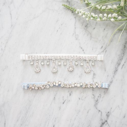 crystal wedding garters set