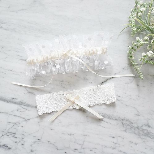 ivory satin tulle wedding garter