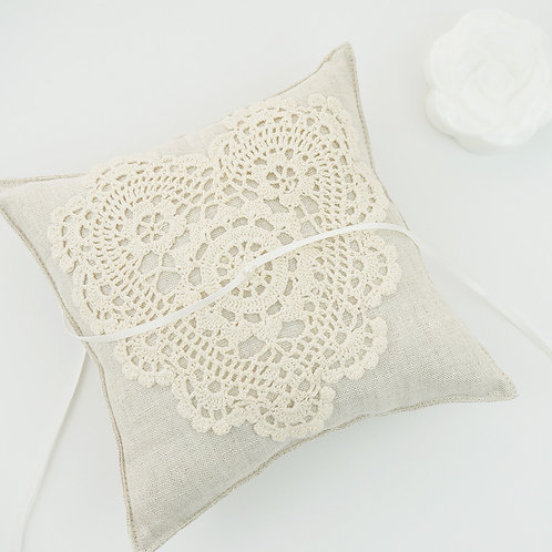 Wedding Ring Pillow, Ring Bearer Pillow, Linen Ring Cushion, Rustic Ring Bearer Pillow, Lace Ring Pillow, Flower Ring Cushion