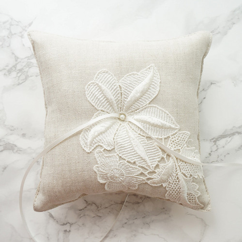 Wedding Ring Pillow With Venice Lace