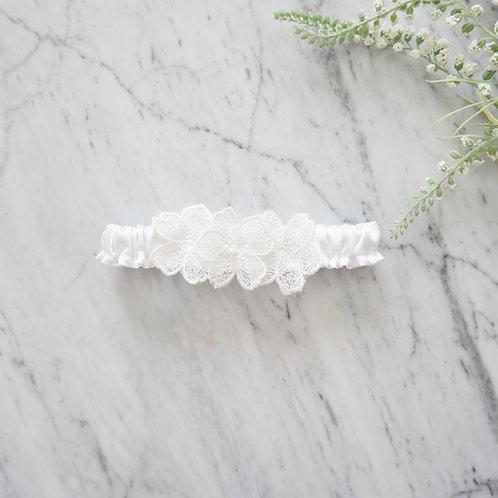 white silk wedding garter