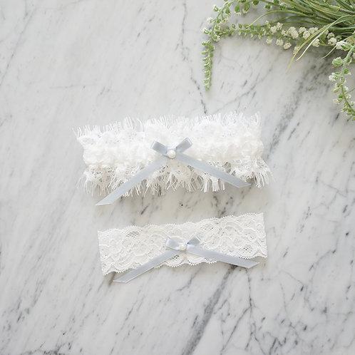 something blue lace garters set