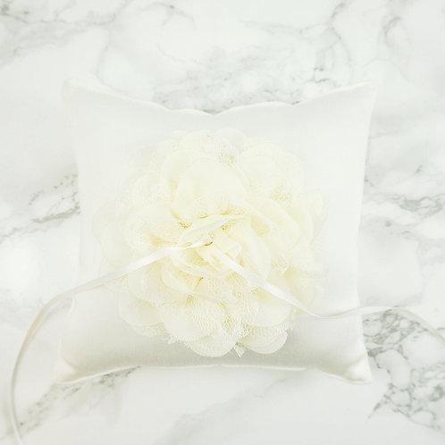 Wedding Ring Pillow, Ring Bearer Pillow, Linen Ring Cushion, Rustic Ring Bearer Pillow, Lace Ring Pillow, Flower Ring Cushion